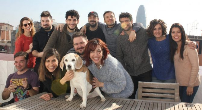 """h0us3 team with actor """"Orson"""" the dog at the balcony"""