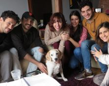 "h0us3 team with actor ""Orson"" the dog inside"